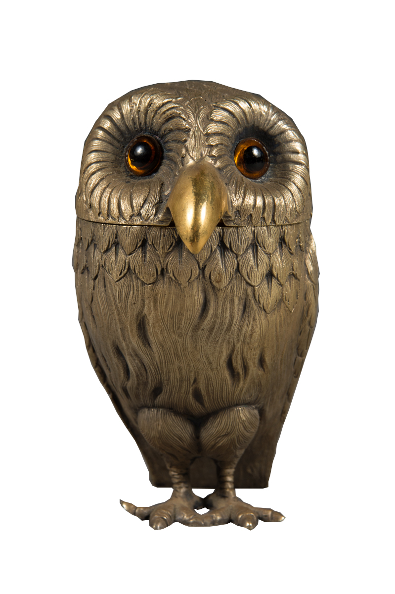 English Sterling Silver Owl Form Mustard Pot London 1972