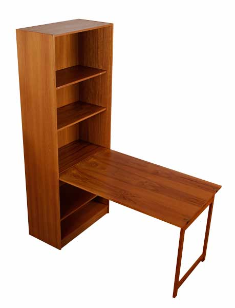 Vintage Danish Teak Bookcase with Hidden Table  Modernism