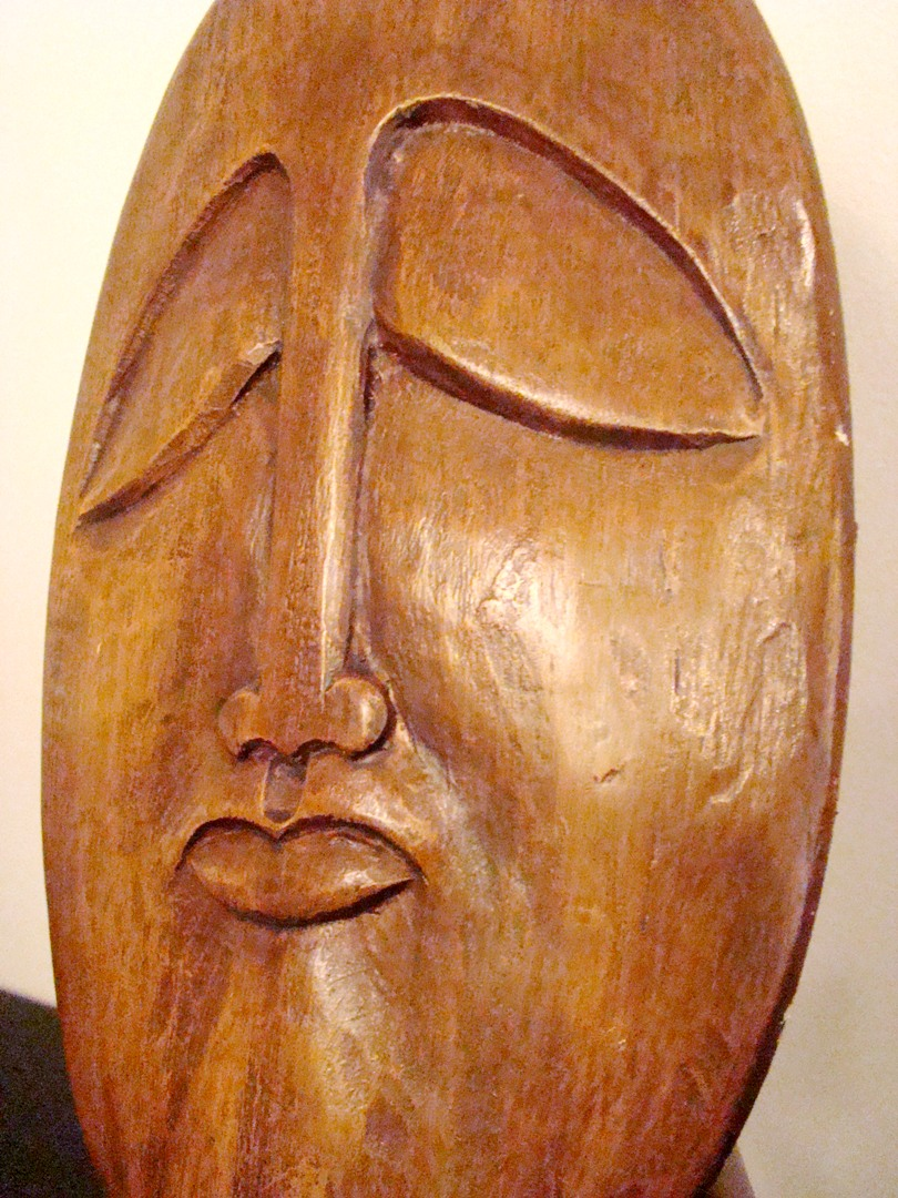 A Carved Midcentury Modern Themed Wood Sculpture  Modernism