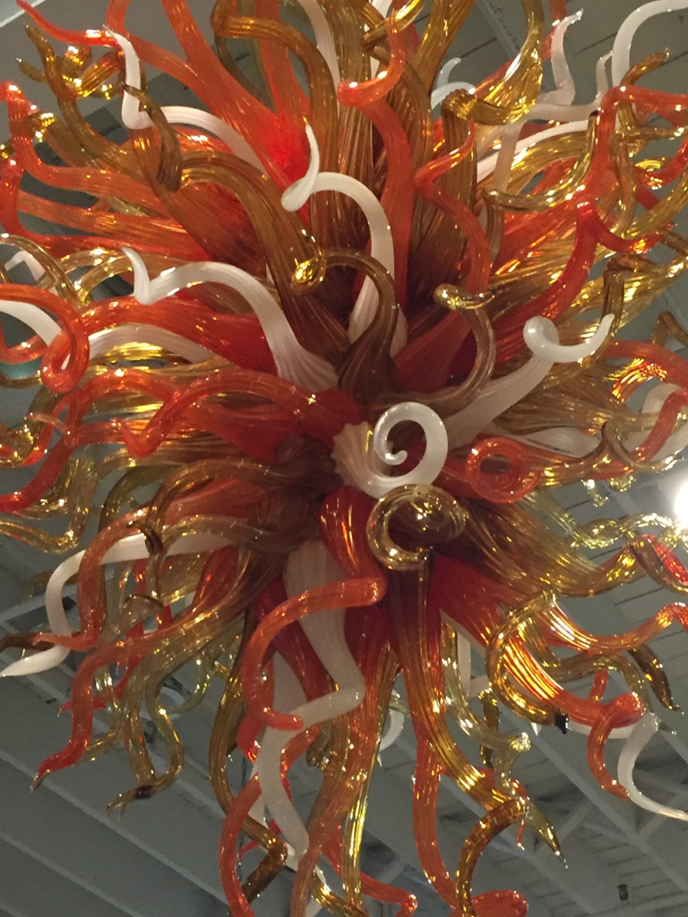 Hand Blown Glass Chandelier In The Style Of Chihuly  Modernism