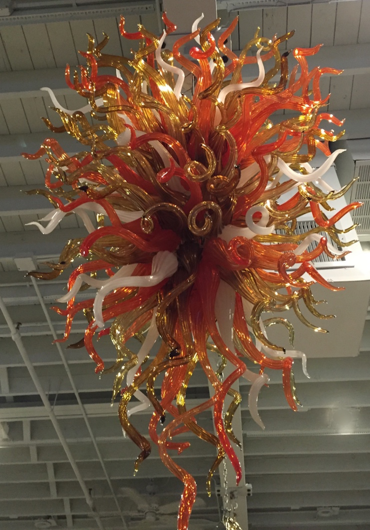 Hand Blown Glass Chandelier In The Style Of Chihuly