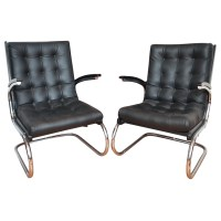 Chrome And Leather Czech Chairs Minimalist Style   Modernism