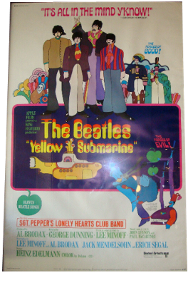 Original 1968 Beatles Yellow Submarine Movie Poster  Modernism