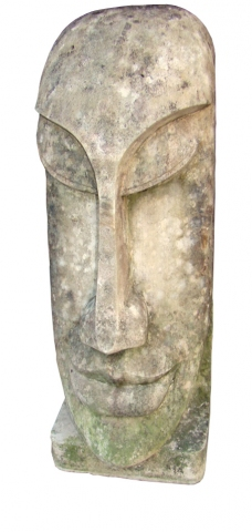 Large Vintage Carved Sculpture of a Pacific Island Head  Modernism