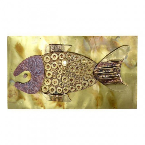 MidCentury Brass and Copper Fish Wall Sculpture  Modernism