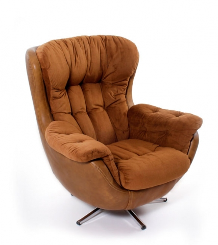 Vintage 1970s Overstuffed Arm Chair  Modernism
