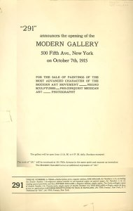 Modern Gallery Announcement - 1915