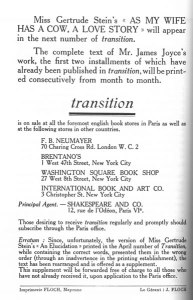 Back cover. Transition. No. 2 (May 1927).
