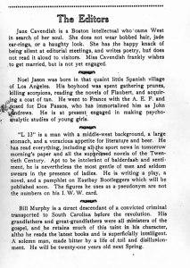 """""""The Editors."""" 1:1 (April 1922): 1."""