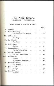 Table of contents. No. 1 (Nov. 1925).
