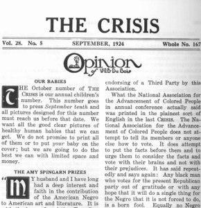 "W. E. B. Du Bois, ""Opinion."" 28:5 (Sept. 1924): 199."