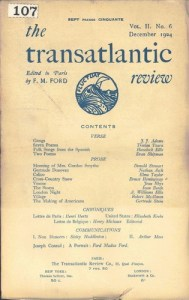 Cover page. The Transatlantic Review. 2.6 (Oct. 1924).