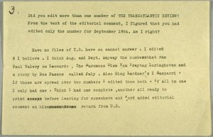 Ernest Hemingway's response to a bibliographic query from a reader. The Transatlantic Review.