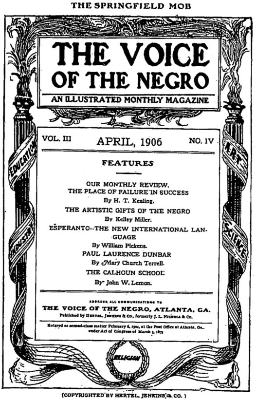 Cover page. The Voice of the Negro. 3.4 (1906)