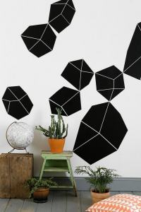 black and white geometric wall decal  Modernist White