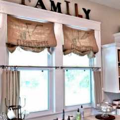 Kitchen Valance Storage Baskets What A Difference Curtains Make Modernize Burlap