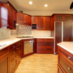 Mahogany Kitchen Cabinets Stainless Steel Table Modernize