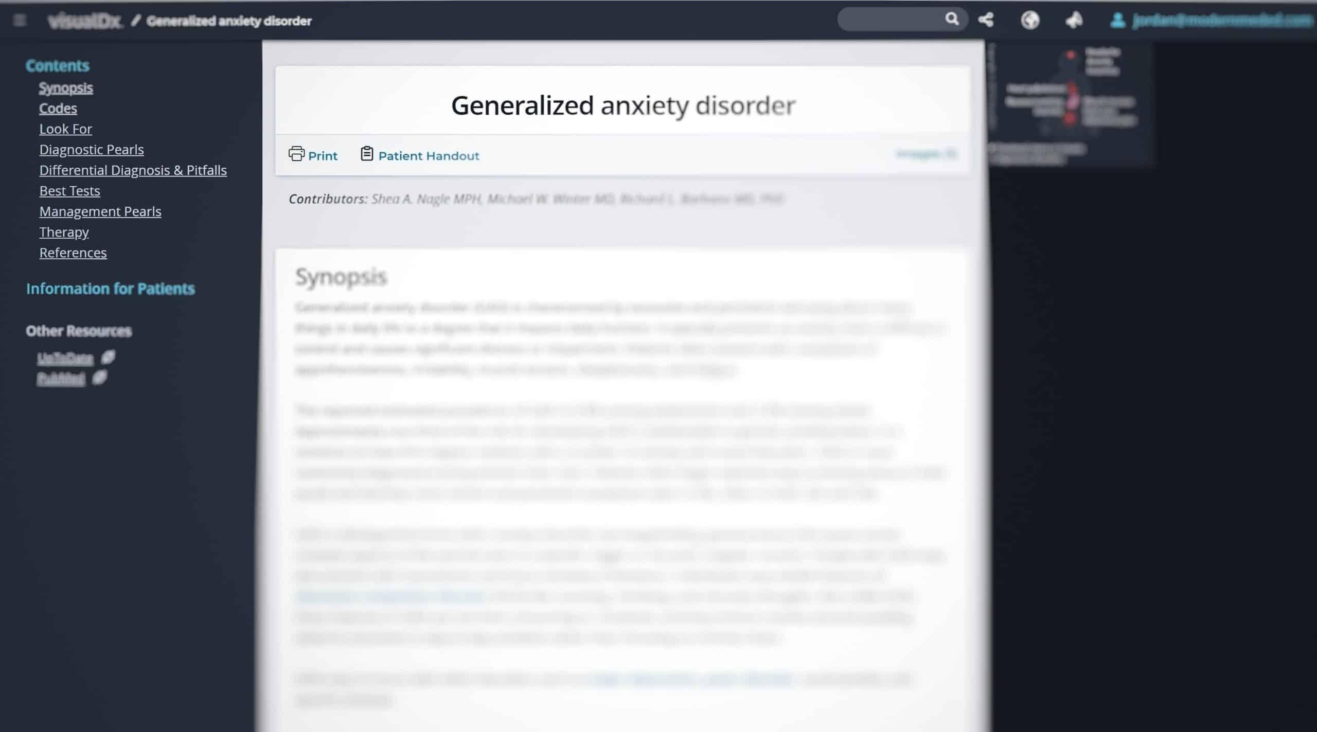 VisualDx GAD synopsis