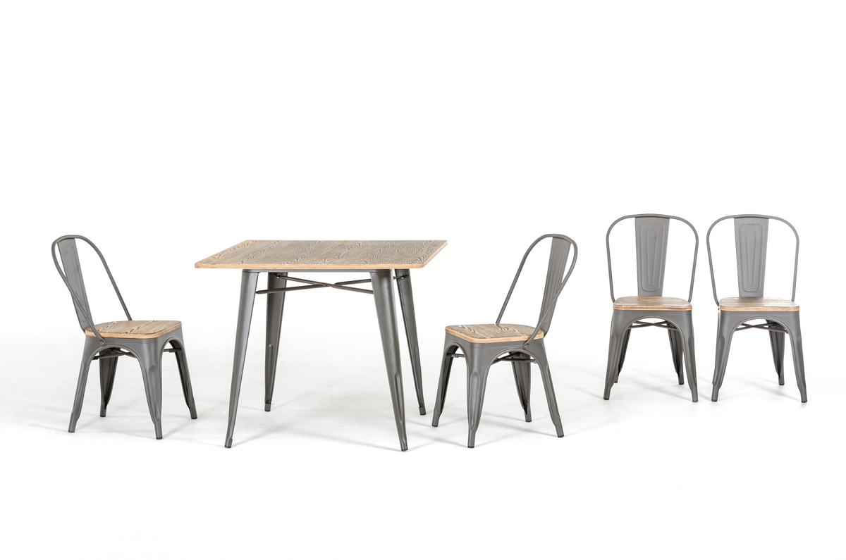 Wood And Metal Dining Chairs Modern Grey Metal And Wood Dining Chair Ebay