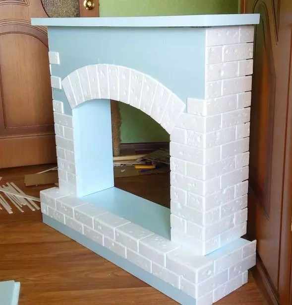 Polyfoam gluing to the fireplace