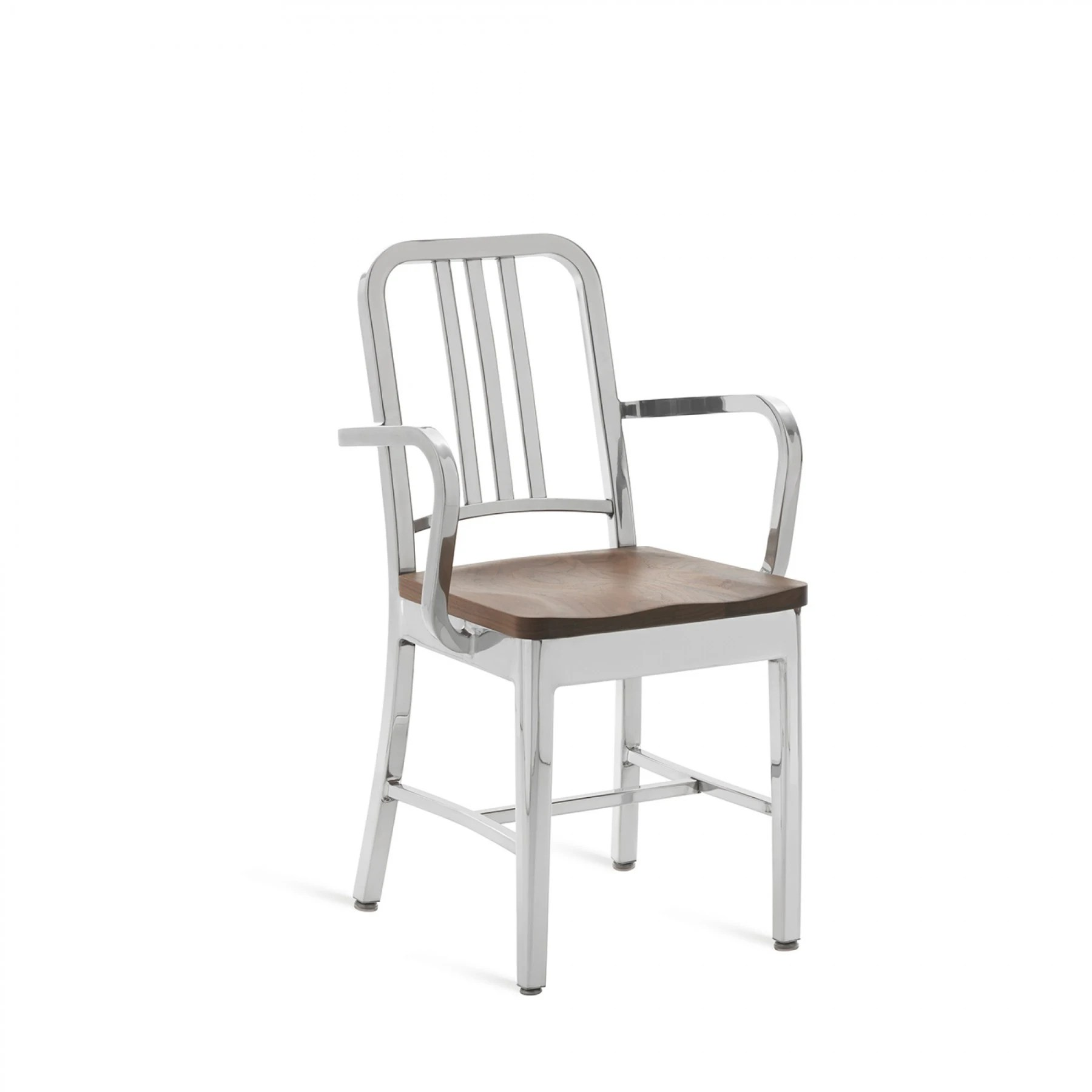 Emeco Navy Arm Chair With Natural Wood Seat  Modern Planet