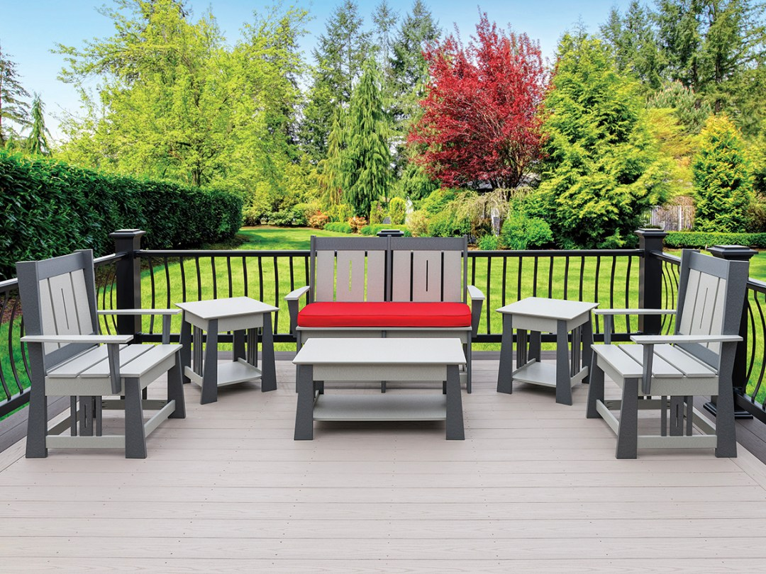 Modern mission style poly patio set