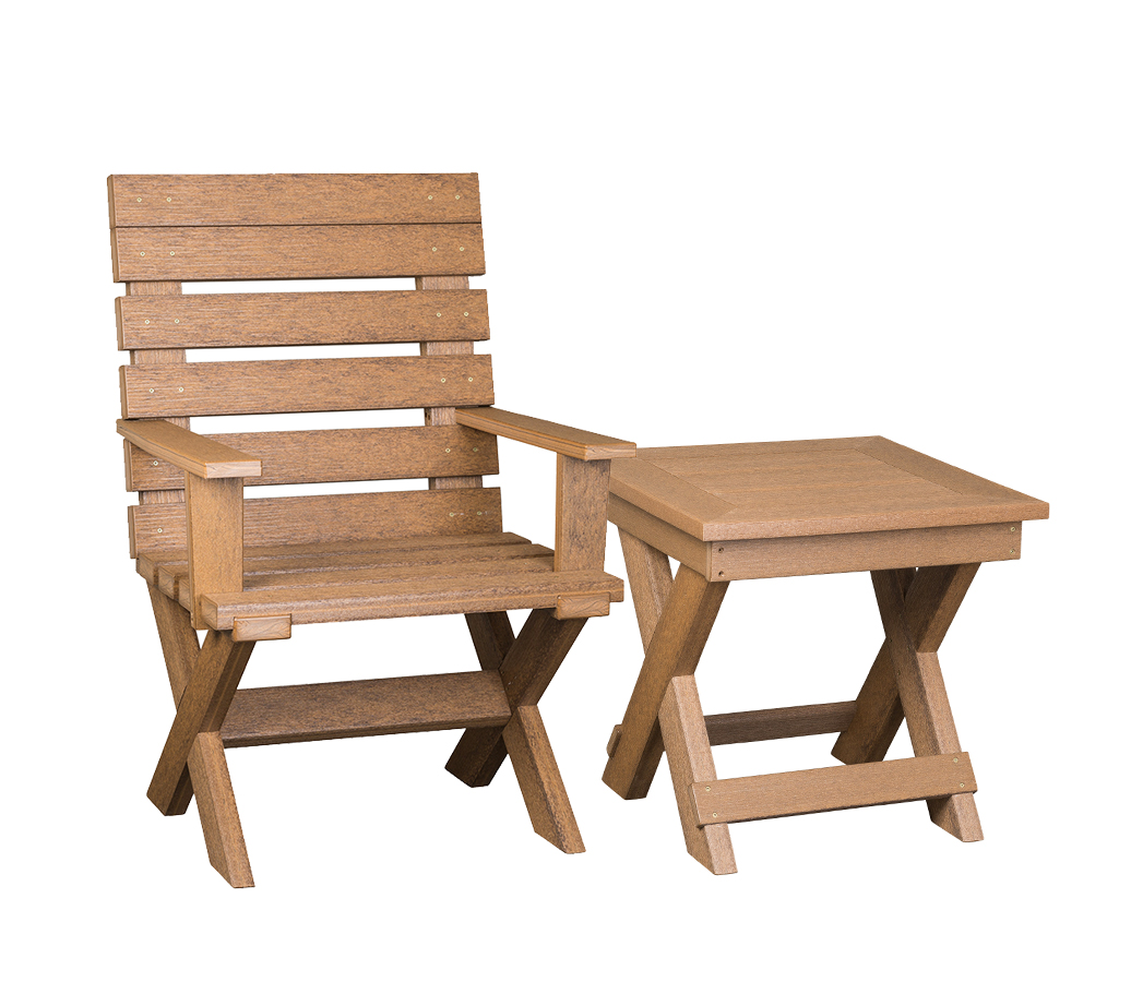 Wood/Poly Chair with End Table