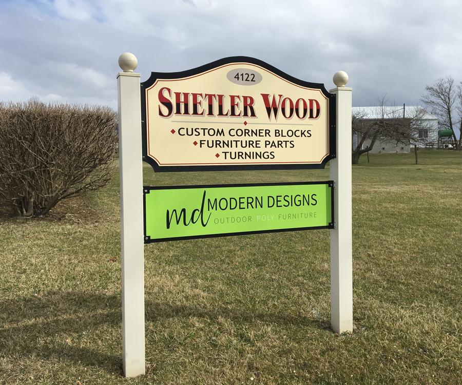 Modern Designs & Shetler Woodcraft Sign