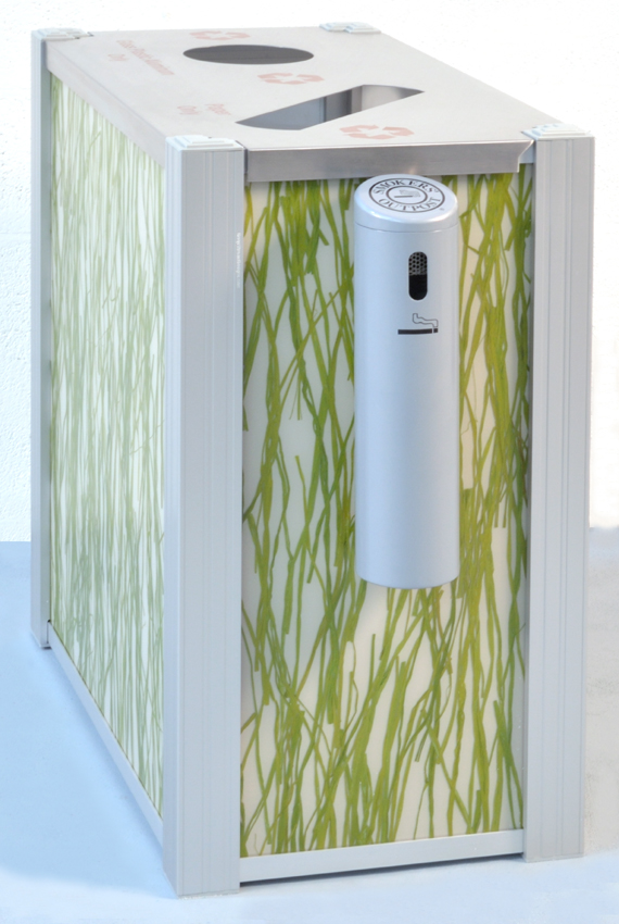 DeepStream's dual stream Recycling Bin using 3form Seaweed panels mounted with an optional Smokers Outpost