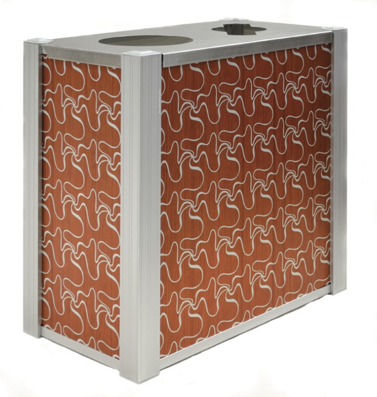 DeepStream Designs' Audubon Modern Recycling and Trash Receptacles with CrossSway aluminum graphics inside a marine anodized aluminum frame housing 2 leak proof removable recycled plastic liner with a 16-gauge 316 stainless steel hinged lid
