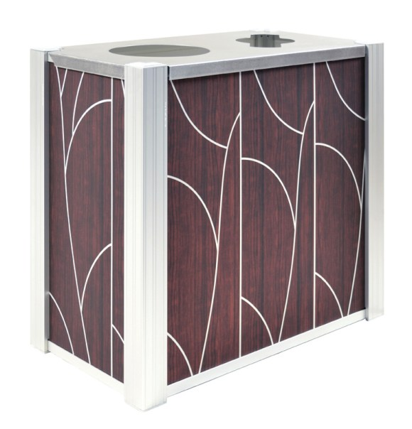 DeepStream Designs' Audubon Modern Recycling and Trash Receptacles with Tree aluminum graphics inside a marine anodized aluminum frame housing 2 leak proof removable recycled plastic liner with a 16-gauge 316 stainless steel hinged lid
