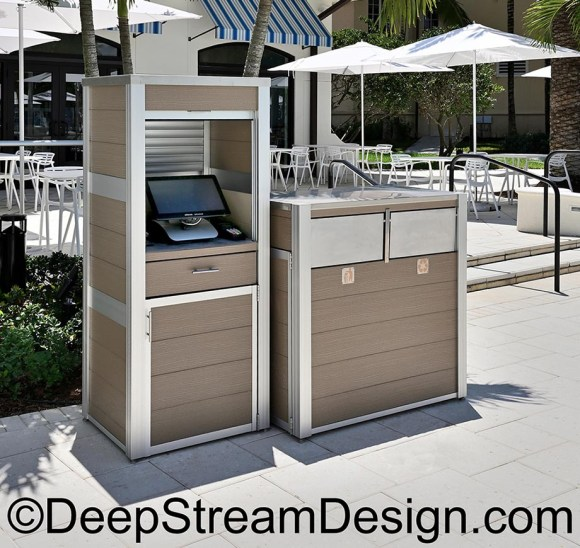 An example of a custom fixture DeepStream's weatherproof cabinet to house a POS system and a modern combination recycling and trash receptacle at a waterpark