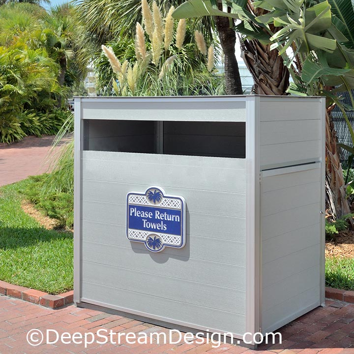 An example of a hotel pool towel return cart cabinet crafted with RPL