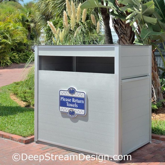 An example of a hotel pool towel return cart cabinet crafted withRPL