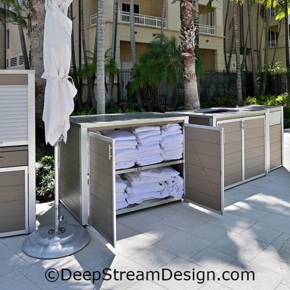 DeepStream's custom fixture, a cabinet to store clean pool towels made with recycled plastic lumber