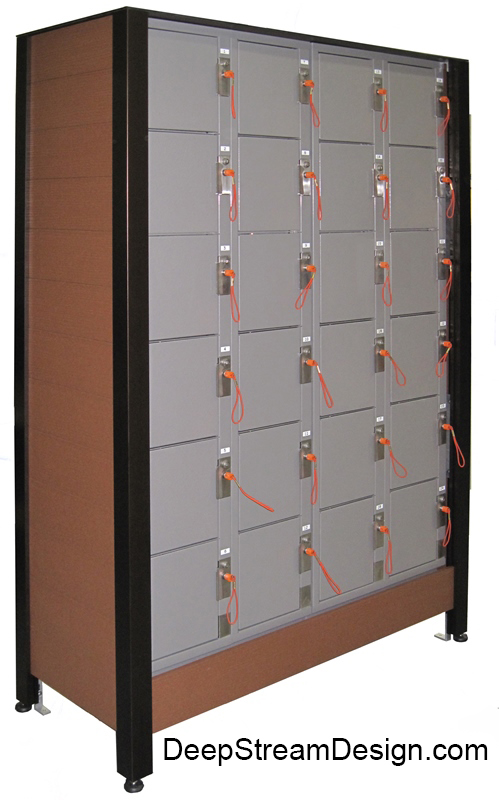 Custom cabinet fixture crafted with recycled plastic lumber is sized to accept standard gym lockers and equipped with adjustable feet