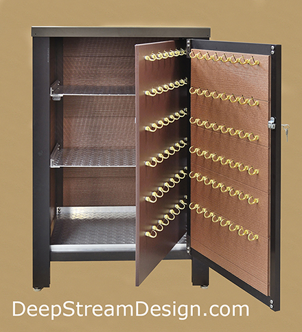 The interior of the Custom Key Locker Valet Stand holds 96 keys and 3 shelves inside a hidden compartment