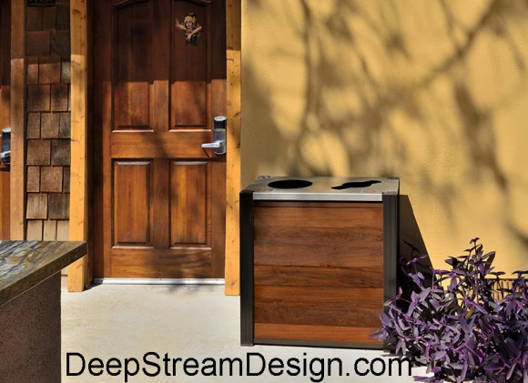 Audubon modern wood trash Receptacle with co-mingled recycling bin outdoors at a California boutique hotel