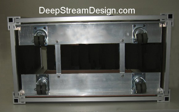 "Bomb proof caster base:  4"" wide by 1/4"" thick aircraft aluminum angle to mount optional hidden casters on DeepStream products"