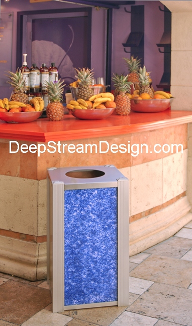 Example of a DeepStream modern Trash Bin or recycling receptacle with 3form Recycled Blue Glass panels at a drink stand