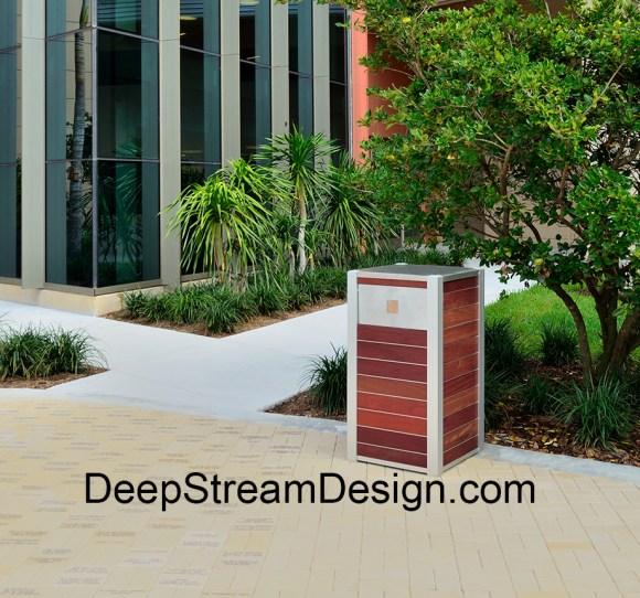 Simple elegance of the OPUS Wood Trash Receptacle with aluminum push flap