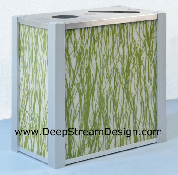 DeepStream's dual stream Modern Recycling Bin using 3form Seaweed resin panels