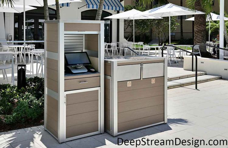 Click to DeepStream's website to see more about maintenance free weatherproof cabinet to housing for point of sale computer cabinet and a modern combination recycling and trash receptacles
