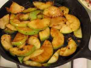 Apples Cooking for Bavarian Pork Chops