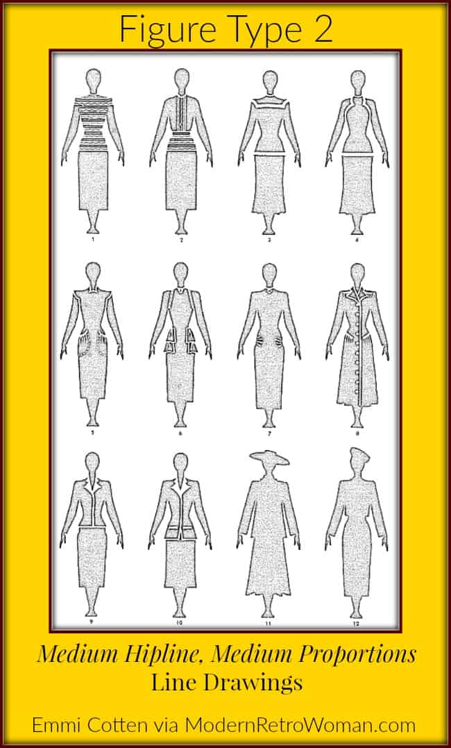 Clothes Make Magic Type-2-Figure-line drawings for blog post From Frumpy to Fabulous ModernRetroWoman.com