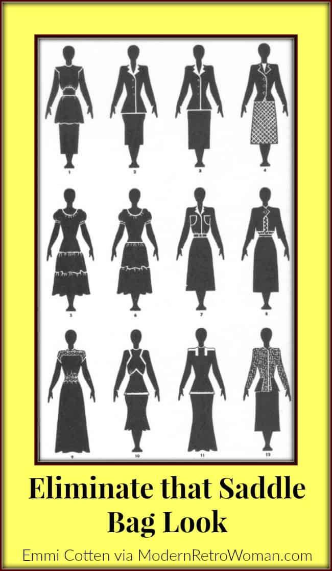 Eliminate that Saddle Bag Look Clothes Make Magic Black and White Drawings ModernRetroWoman.com
