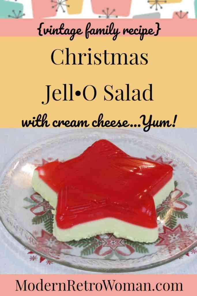 Photo of Christmas Jell-O salad in a star shape for blog post Vintage Christmas Jello with cream cheese salad ModernRetroWoman.com