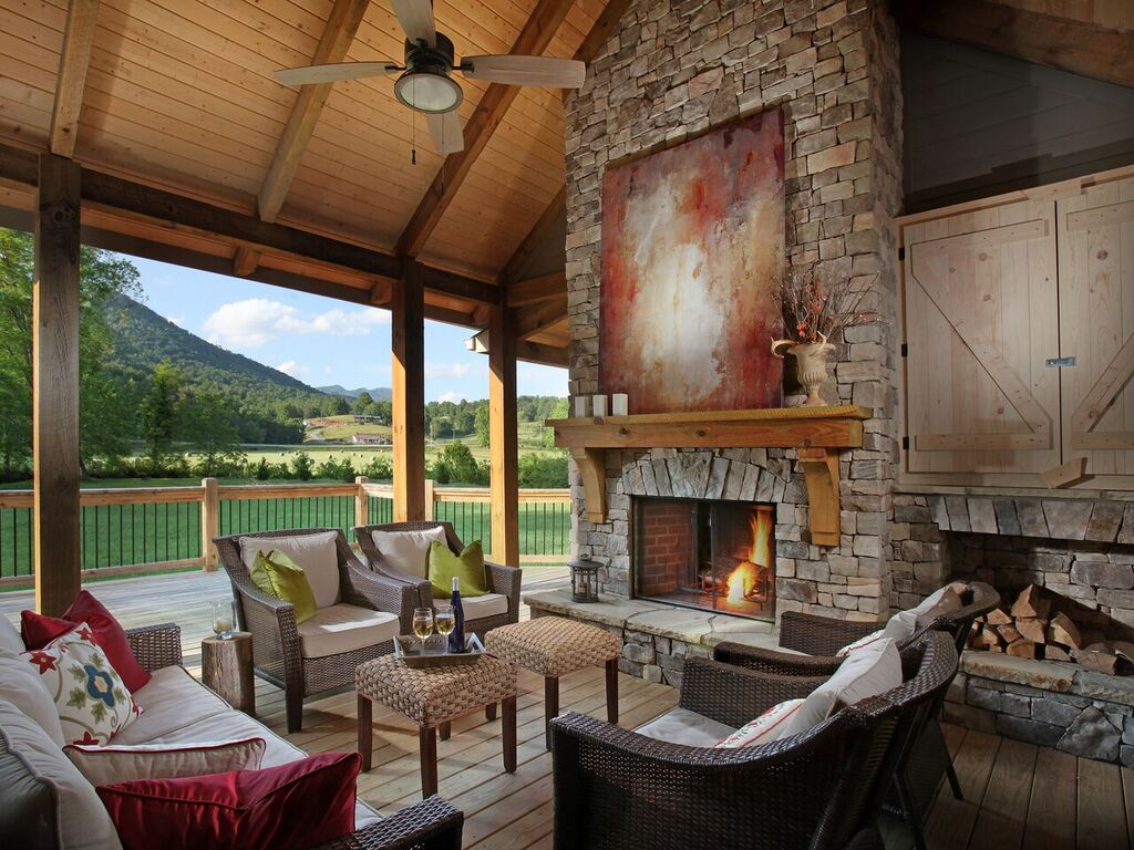 stacked-stone fireplace for entertainment