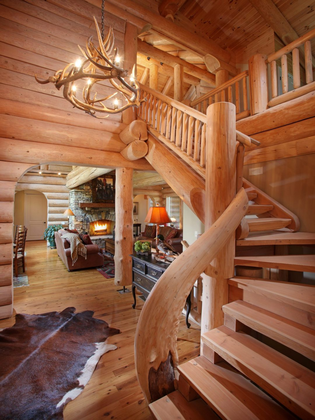 Handcrafted stairs with natural curves