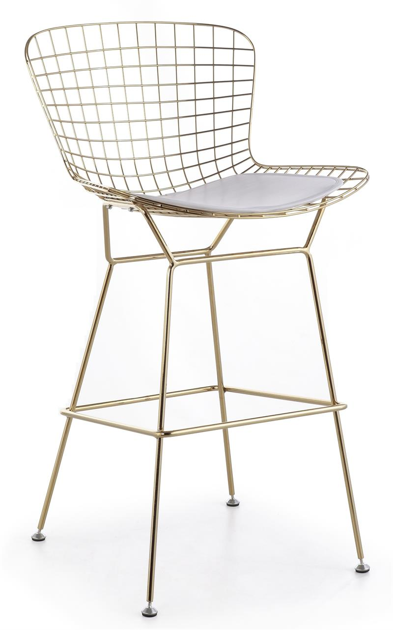 Bertoia Wire Counter Stool In Gold Finish  Bar  Counter
